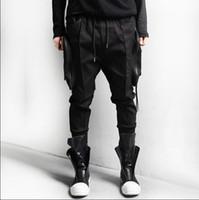 ingrosso sweatpants neri di hip hop-Nero Bianco Grandi tasche Qualità Zipper Cargo Baggy Mens Hip Hop Streetwear Pantaloni Jogger Pantaloni sportivi Harem Pantaloni Matita da jogging