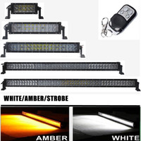 ingrosso 4x4 telecomando-Auto 4D giallo bianco Led Light Bar 36 w 72 w 120 w 180 w 240 w 288 w 300 w telecomando lampeggiante barra led lavoro guida lampada 4X4 camion