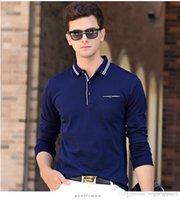 herren langarm polo blau großhandel-Herren Herbst Freizeitkleidung Revers Ausschnitt Langarm Polo Grau Blau Wein Mode T-Shirts Mode