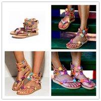 ingrosso scarpe petali-Hot Bohemian Style Ethnic Bead Petals Scarpe da donna Tacco basso PU fascia stretta fiore Grandi dimensioni 35-43 Sandali con punta Punto esplosivo Commercio estero