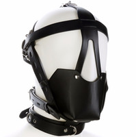 Wholesale head harnesses for women for sale - Group buy Fetish Mouth Gag Headgear Pu Leather Mask Hood Head Bondage Restraint Harness Adult Sm Costume Sex Game Toy For Women Men Couple Y190716