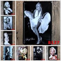 parede de marilyn monroe posteres venda por atacado-Retro Metal Pintura Cartaz Marilyn Monroe Audrey Hepburn Famosa estrela Do Vintage Artesanato Tin Sinal Bar Pub Sinais Arte Da Parede Adesivo LXL308