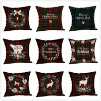 Wholesale solid pillow covers resale online - Christmas Decorations Pillow Case Plaid Elk Bear Ptinted Throw Pillow Covers Xams Cotton Linen Sofa Cushion Cover Home Party Pillowcase Hot