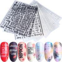 siyah harf çıkartmaları toptan satış-1 adet 3D Tırnak Çıkartmalar Harfler Yazma Beyaz Siyah Gümüş Tasarımlar Manikür Çiviler Sanat Süslemeleri Yapıştırıcı Kaydırıcılar Çıkartmaları TRCB / F