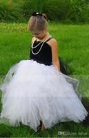 schwarze brautjungfern kleider weißen bogen großhandel-Neue Blumenmädchen Kleid Little Girl Princess White Black Brautjungfer für formale Hochzeit Anlass Wunsch Schärpe Prinzessin Bow Brithday