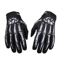esqueletos de guantes de ciclismo al por mayor-Hombres guantes de gimnasio al aire libre mitones esqueleto cráneo hueso guantes llenos del dedo Jeaz para el ciclismo Biker Racing motocicleta