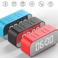 sound alarme tragbar großhandel-Tragbarer drahtloser Bluetooth-Lautsprecher mit Spiegelsäule Subwoofer Musik-Soundbox LED-Zeitschlummerwecker-Lautsprecher