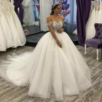 Wholesale sweetheart off shoulder princess wedding dresses for sale - Group buy Luxury Arabic Boho Ball Gown Wedding Dresses Off Shoulder Beaded Crystal Wedding Gowns Tulle Chapel Train Princess Bridal Dress