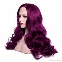 Wholesale natural affordable wigs for sale - Group buy Affordable Synthetic Lace Front Wigs Purple Color Long Body Wave Heat Resistant Fiber Pure Color Wigs For Women Natural Hairline