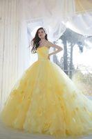 vestidos de 12 anos venda por atacado-Vestidos Princesa Quinceanera Amarelo vestidos de quinceañera Vestidos de 15 Anos de idade Vestido Strapless Floral Prom Vestidos Plus Size vestidos de noite