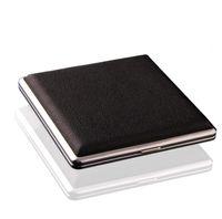 ingrosso caso di scatola nera di sigaretta nera-Tasca in pelle nera in metallo tabacco 20 scatola portasigarette portasigarette pubblicitario regali aziendali SN2374