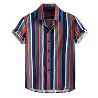 düğme bluzları kısa kollu toptan satış-Womail 2019 Yeni Varış Moda Yaz Gömlek erkek Nefes Şerit Yaz Kısa Kollu Gevşek Düğmeleri Rahat Gömlek Bluz SH190719
