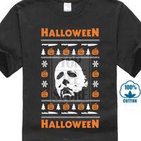 ingrosso brutti maglioni natali xl-650 T-shirt da uomo di Halloween Brutto maglione natalizio Maglione da slasher Costume Horror Bianco T-shirt hip-hop