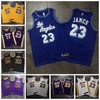ingrosso pullover da basket oro nero-Top Quality 2019 di Los AngelesLakers Basketball 23 # NBA LeBron JamesJersey Dense AU tessuto urbano versione di Black Gold Snake maglie