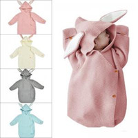 Wholesale swaddling clothes online - Rabbit ear knitted sleeping bag newborn Baby kids Swaddling winter Warm Blanket Infant Button Sleeping Bag FFA1580
