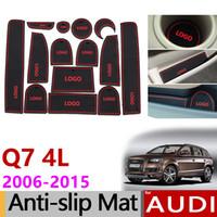 automatische linien großhandel-Anti-Rutsch-Gummi Tor Slot Cup Mat für Audi Q7 4L 2006 - 2015 S Linie LOGO Zubehör Auto Aufkleber