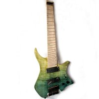 cuerdas de guitarra sin cabeza al por mayor-Musoo marca 8 cuerdas avivó traste guitarra eléctrica sin cabeza en azul claro