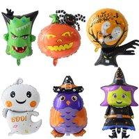 katzenfolie ballons großhandel-6pcs Halloween-Folien-Ballone Kürbis Spinne Katze Geist-Schläger-Ballon für Halloween-Party-Bevorzugung Kinder Spielzeug Dekoration Halloween Globos