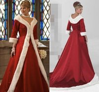 2018 Cloak Winter Bridal Jackets Wraps with Faux Fur Christmas 3 4 Long Sleeves Coats Formal Party Gowns