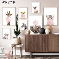 Wholesale abstract elephant painting for sale - Group buy Pink Bubble Elephant Giraffe Child Poster Animal Wall Art Canvas Nursery Print Painting Nordic Kid Baby Room Decoration Picture