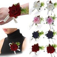 ipek çiçek boutonnieres toptan satış-Düğün İpek Güller Corsages Boutonnieres Evlilik Çiçek Gelinlik Dekorasyon
