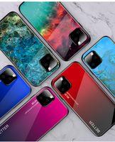 capas bling para telefones celulares venda por atacado-Para Novo Iphone 11/11 Pro / 11 Pro Max 2019 Bling Vidro Temperado Caso Voltar TPU PC Hard Case Moda Colorido Celular Tampa Da Pele 10 pcs