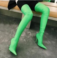 Wholesale green stiletto boots resale online - Hot Sale Candy Color Sock Over The Knee Boots Women Sexy Point toe Stiletto High Heel Thigh High Boots Elastic Sock Long Botas Rihanna