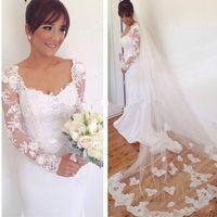 395270b5028a Abiti da sposa bianco sirena avorio 2019 eleganti maniche lunghe abiti da  sposa su misura abiti da sposa shop online in Cina