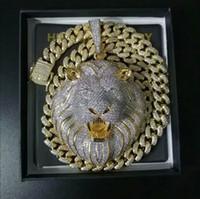 Wholesale lion chains for sale - Group buy Mens Jewelry Hip Hop Iced Out Pendant Luxury Designer Necklace Bling Diamond Cuban Link Chain Big Pendants Lion Animal Rapper Accessories