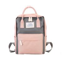 bonitos mochilas para meninas venda por atacado-Mochilas de Lona das mulheres Doces Cor Sacos De Escola À Prova D 'Água Para Adolescentes Meninas Grande Bonito Laptop Mochila Patchwork Kawaii Mochila