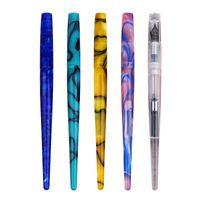 caneta padrão venda por atacado-Moonman Penbbs 267 Long Tail Acrílico Fountain Pen, Padrão Colorido bonito Transparente Pen Ink escritório com a caixa Iridium F Nib