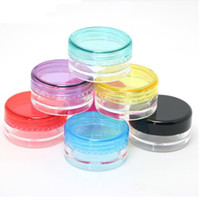 Wholesale lip pots containers resale online - 5G ML High Quality Empty Clear Container Jar Pot With Black Lids for Powder Makeup Cream Lotion Lip Balm Gloss Cosmetic Samples