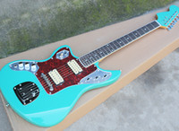 ingrosso le chitarre rosse a sinistra-Chitarra elettrica di colore verde per la mano sinistra con tastiera in palissandro, battipenna per chitarra rossa, hardware di cromo, che offre servizi personalizzati