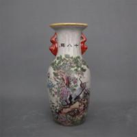 gabinete de ceramica al por mayor-Jingdezhen cerámica antigua qianlong florero en colores pastel 18 grúa decoración del hogar gabinete antiguo exhibidor piezas florero Cerámica Festival decoración