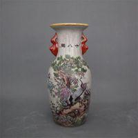 ingrosso vaso antico-Jingdezhen ceramica antica qianlong pastello vaso 18 gru decorazione della casa mobile antico display pezzi vaso in ceramica decorazione Festival