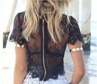 ingrosso pizzo nero maturo-Estate signora pizzo bianco nero tops manica corta cerniera cime top vestito femminile matura nuovo design top