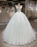 Wholesale strap back gown for sale - Group buy Shinny Beaded Ball Gown Wedding Dresses Lace Up Back Bridal Gowns Formal Beading Sleeveless Vestidos De Marriage Sleeveless V Shape