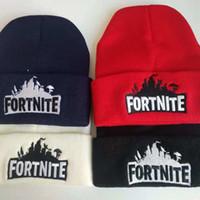 gençlik şapkaları başlıkları toptan satış-Fortnite Bere Şapka Erkekler Kış Şapka Kap Fortnite Oyunu Sıcak Sıcak Örgü Beanie Şapka Kap Erkekler Kadınlar Gençler Gençler için