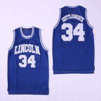 uniformes do basquetebol do jérsei venda por atacado-Homens # 34 Jesus SHUTTLESWORTH Lincoln Ele Got Game Basquete Camisa Branca Azul Vermelho camisas bordadas Logotipos Costurados Uniforme