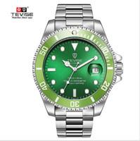 tevise роскошные мужчины оптовых-BRW TEVISE зеленые часы мужчины автоматические механические против царапин вращающийся наружное кольцо водонепроницаемый световой мужские часы лучший бренд класса люкс