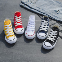 Wholesale baby kids children shoes resale online - Kids shoes baby canvas Sneakers Breathable Leisure designer shoes children boys girls High top Shoes colors C6542