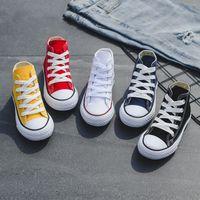 chico alto tops al por mayor-Zapatos de niños zapatillas de lona para bebés Zapatos de ocio transpirables zapatos de diseño para niños, niños y niñas High top Shoes 5 colores C6542