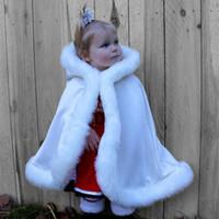 Wholesale champagne fur bolero for sale - Group buy Child Winter Hooded Faux Fur Trim Satin Wedding Jacket Cloak Mantles Wraps in Shawl Jacket Wedding cloak Kids Birthday Party Wrap bolero