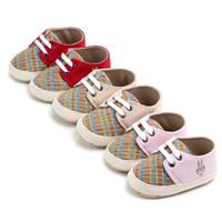 ingrosso passeggini per ragazzi-2018 Nuovo di zecca per neonati per bambini Ragazzi Passeggini per bambini Primi passi Scarpe da tennis Pre-walk Sneakers Lace-up Baby 0-18 M