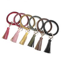 Wholesale leather key chain handmade for sale - Group buy Fashion Bangle Keychain Wristlet Tassel Key Chain Large Circle Key Ring Handmade Flower Leather Keychains For Women Girls Xmas Gifts M101Y