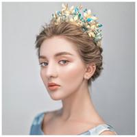 ingrosso blu corona tiaras-HIMSTORY Handmade Vintage Blue Flower Farfalla Tiara Crown Baroque Queen Wedding Party Accessori per capelli Principessa Gioielli da sposa fascia