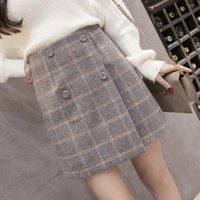 wolle rock kurze frauen großhandel-2019 Herbst Winter Plaid Wollrock Damen Kurzer Rock Mini A-Linie Harajuku Wollröcke Vintage Office Damen Jupe Femme Saia T190824