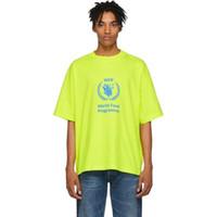 camisas casuais soltas para homens venda por atacado-18FW BLCG WFP Trigo Orelhas Tee Carta Moda Impressa Respirável T-shirt Casual Solto Crewneck Rua Casal T-shirt Das Mulheres Dos Homens HFYMTX389