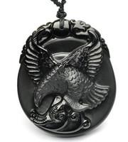 ingrosso pendente di aquila nero-100% Natural Black Obsidian Intagliato Flying Eagle Lucky Totem Pendant + Necklace Beads Fashion Jewelry Per Donna Uomo