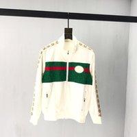 erkek danteli ceket toptan satış-2019 erkek tasarımcı ceket lüks Dantel dikiş Şerit baskı Metal fermuar giysi Standı Yaka uzun kollu Erkek Kadın gerçek etiket etiketi Yeni